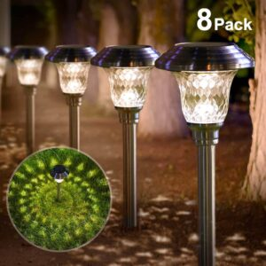 BEAU JARDIN Solar Lights Bright Pathway Outdoor Garden Stake Glass Stainless Steel Waterproof Auto On off White Wireless Sun Powered Landscape Lighting