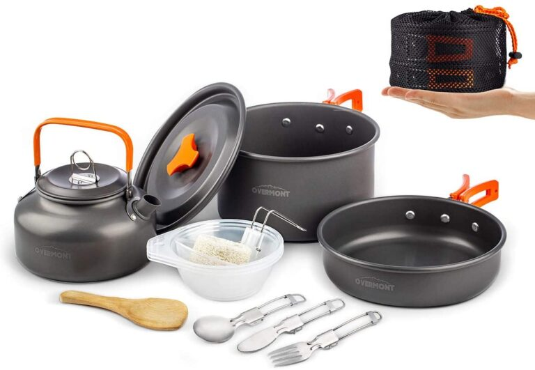 Camping Cookware Set 1-2 Person Campfire Kettle Outdoor Cooking Mess Kit Pots Pan