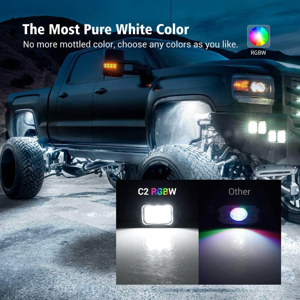 C2 Curved MICTUNING RGBW Multicolor Neon LED Rock Lights   Waterproof and Bluetooth Support