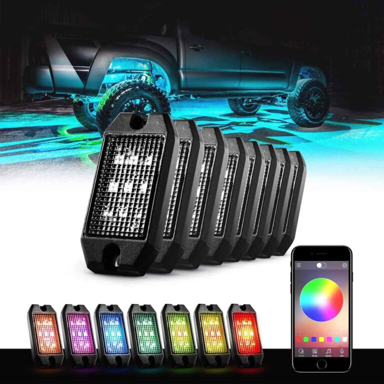 GoodRun Rock Lights with Bluetooth and remote Controller 8 Pods RGB underglow LED kit